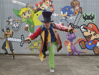 Matt Hatter being chased by an angry mob of game characters