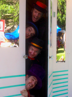 The boys at The Little Big Show in the Assembly George Square Gardens for the Edinburgh Fringe Festival