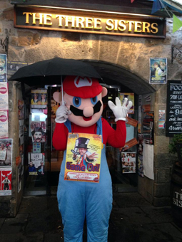 Matt's wife Kat dressed as Mario about to go flyering for Game On at the Edinburgh Firnge Festival