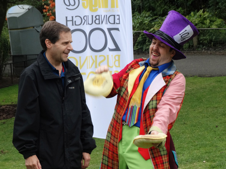 "Matty with a willing ""volunteer"" at Edinburgh Zoo during the 2014 Edinburgh Fringe Festival"