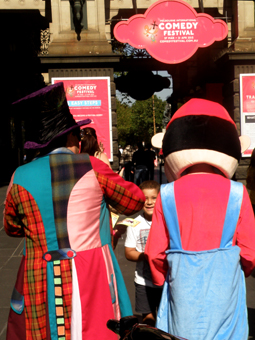 Matty Hatter and Super Mario out front of Town Hall at the 2013 MICF