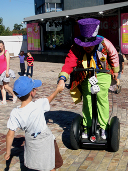 Matty Hatter on his segway at Federation Square at the 2012 MICF